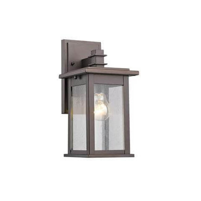 "TRISTAN Transitional 1 Light Rubbed Bronze Outdoor Wall Sconce 12"" Height"