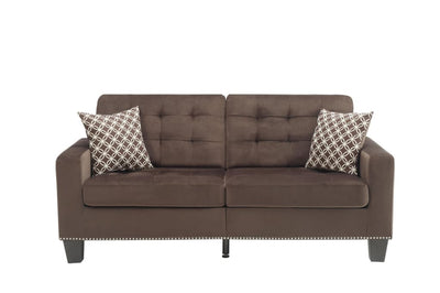 Tufted Fabric Upholstered Sofa With Two Pillows, Chocolate Brown
