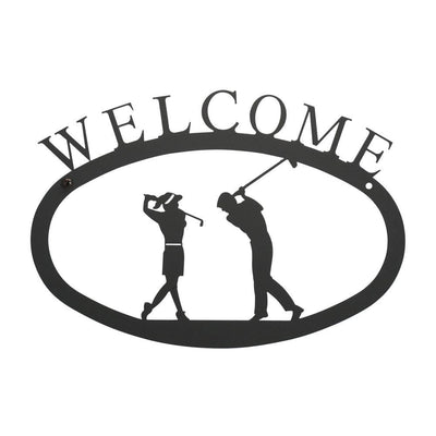 Two Golfers - Welcome Sign Small