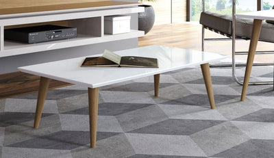 "Utopia 11.81"" High  Rectangle Coffee Table with Splayed Legs in Off White"