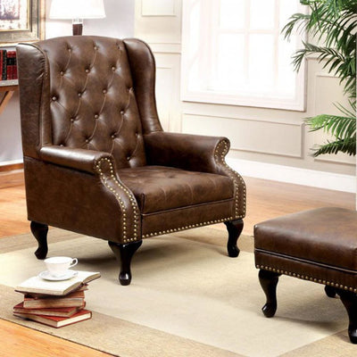 Vaugh Traditional Wing Accent Chair In Nail Head, Rustic Brown Finish By Casagear Home
