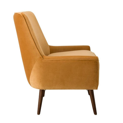 Velvet Upholstered Wooden Accent Chair with Flared Armrests Orange and Brown - K7082-B273 KFN-K7082-B273