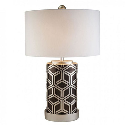 Well-Designed Polyresin Table Lamp Silver And Black FOA-L9276