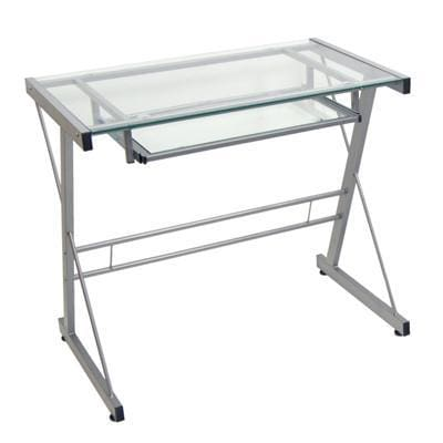 Whimsical and Sleek Solo Desk in Silver by Walker Edison