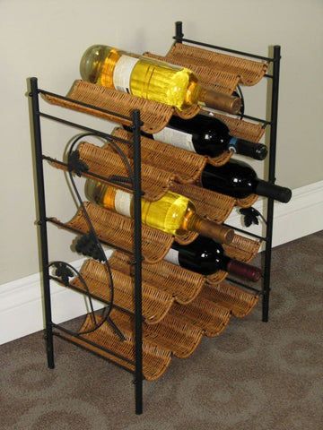 Benzara Floral Metal Wall Wine Holder 45-inch H, 9-inch W