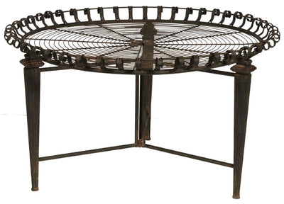 "31.5"" Wire Top Round Metal Frame Table, Brown By Casagear Home"