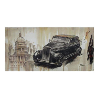 Old Fashioned Car Pencil Painting Wall Art, 23.6 by 47.2 by 1.18-Inch