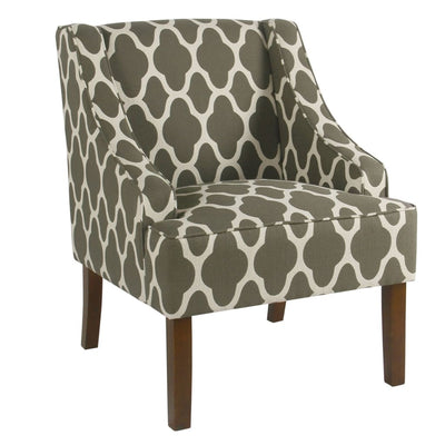 Wood and Fabric Upholstered Accent Chair with Swooping Armrests, Multicolor - K6499-F2052 By Casagear Home