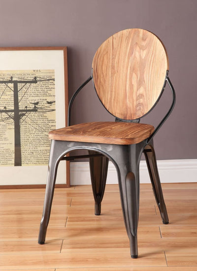 Wood and Metal Dining Side Chair with Oval Backrest, Set of 2, Brown and Gray