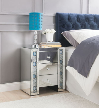 Wood & Mirror Nightstand with Agate Inserts, Silver