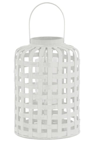 Wood Round Lantern with Lattice Design Body and Handle, White-41055