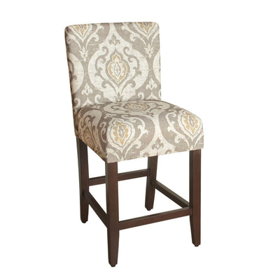 Wooden 24 Inch Counter Height Stool with Damask Pattern Fabric Upholstery, Multicolor - K6858-24-A793 By Casagear Home