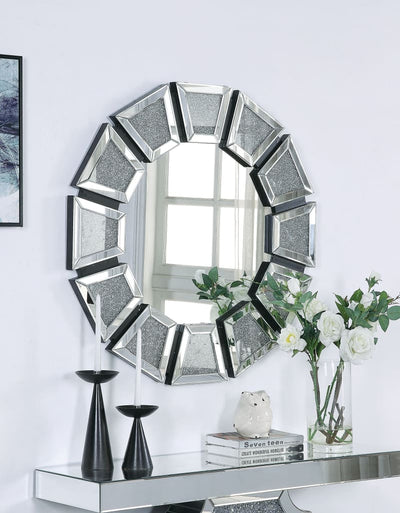 Wooden Backing Wall Decor with Tapered Mirrored Panel Borders, Clear and Black - 97610