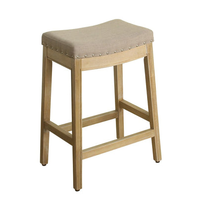 Wooden Counter Height Stool with Fabric Padded Saddle Seat and Nail head Trim Accent, Beige - K7446-F2178 By Casagear Home