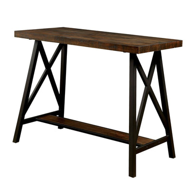 Wooden Counter Height Table With Metal Angled Legs, Black And Brown -CM3415PT By Casagear Home