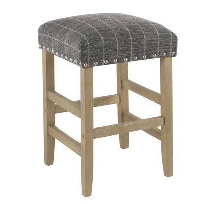 Wooden Counter Stool with Stripe Pattern Fabric Padded Seat, Dark Gray and Brown - K7734-24-F2324 By Casagear Home