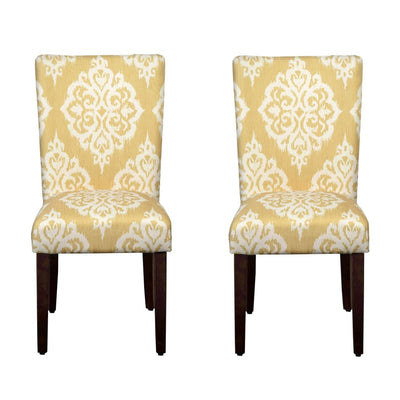 Wooden Dining Chair with Damask Print Fabric Upholstery, Yellow and Cream, Set of Two - K6805-A751 By Casagear Home