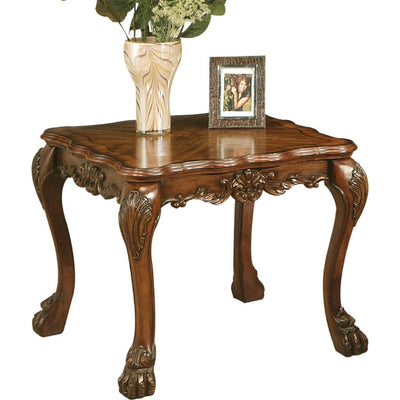 Wooden End Table In Traditional Style , Cherry Oak Brown