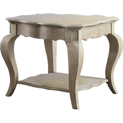 Wooden End Table with Lower Shelf in Antique Taupe Silver Finish