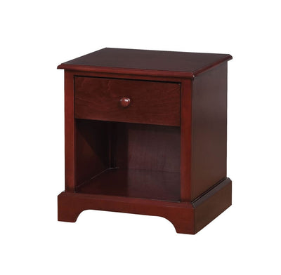 Wooden Night Stand With One Drawer And Open Shelf In Cherry Brown By Casagear Home
