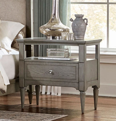 Wooden Night Stand With One Drawer And Shelf In Gray