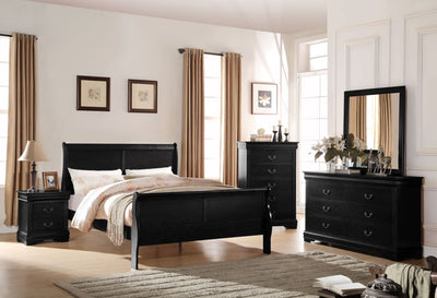Wooden Nightstand with Two Drawers Black AMF-23733