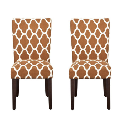 Wooden Parson Dining Chair with Quatrefoil Pattern Fabric Upholstery, Orange and White, Set of Two - K6805-F2054 By Casagear Home