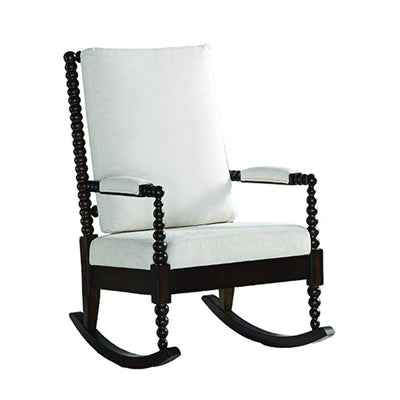 Wooden Rocking Chair with Fabric Upholstered Cushions, White and Brown - 59523