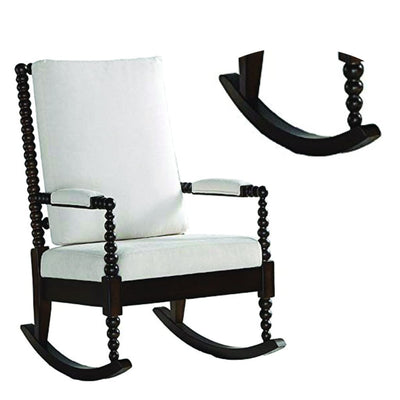 Wooden Rocking Chair with Fabric Upholstered Cushions White and Brown - 59523 AMF-59523