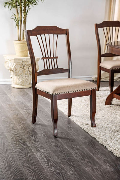 Wooden Side Chair With Beige Fabric Padded Seat, Brown, Pack Of Two -CM3626SC-2PK By Casagear Home
