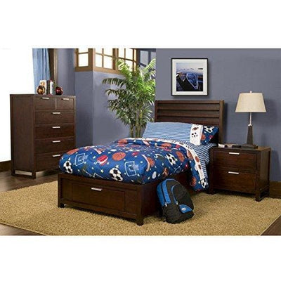 Wooden Twin Size Storage bed with One Drawer on Footboard, brown