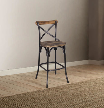 Zaire Bar Chair, Walnut & Antique Black By ACME