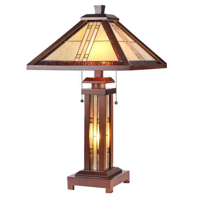 "Zella Tiffany-Style Mission 3 Light Double Lit Wooden Table Lamp 15"" Shade"