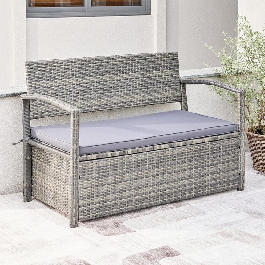 Gabrielle All-weather Resin Wicker Lounge Patio Sofa Storage Bench