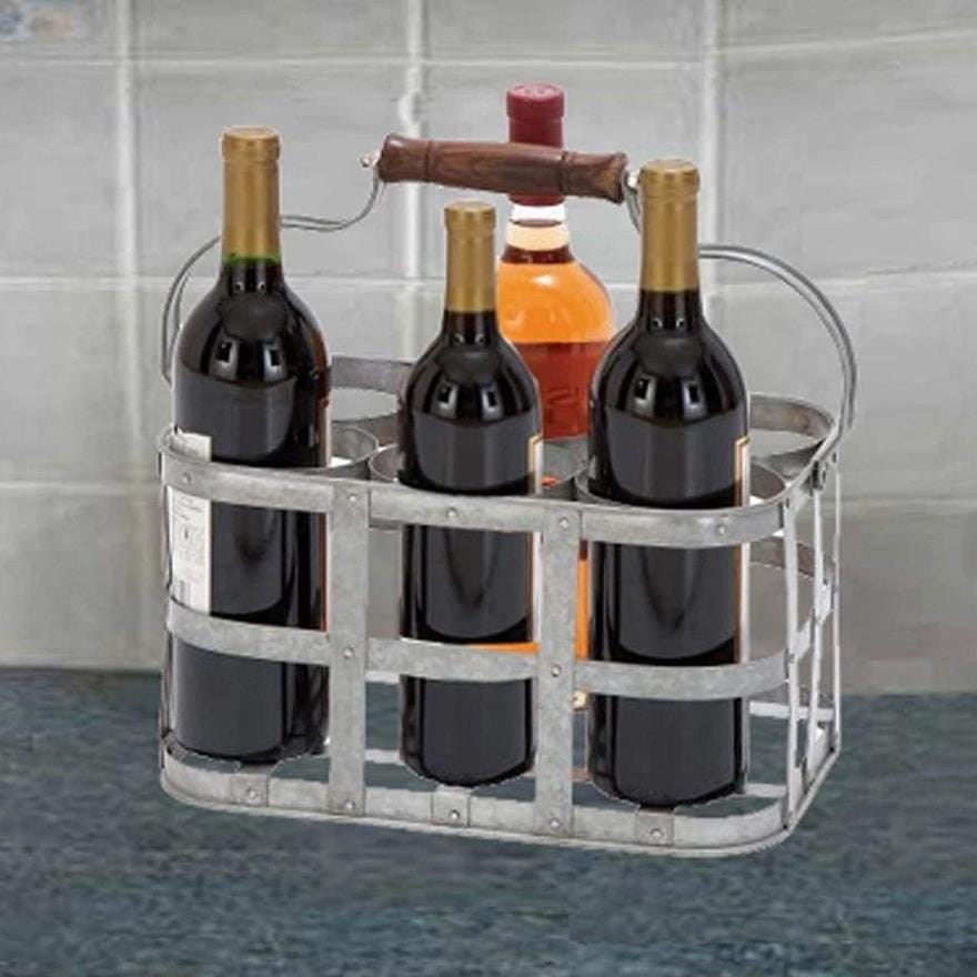 Metal Strip Wine Holder With Wooden Handle And Six Bottles Storage