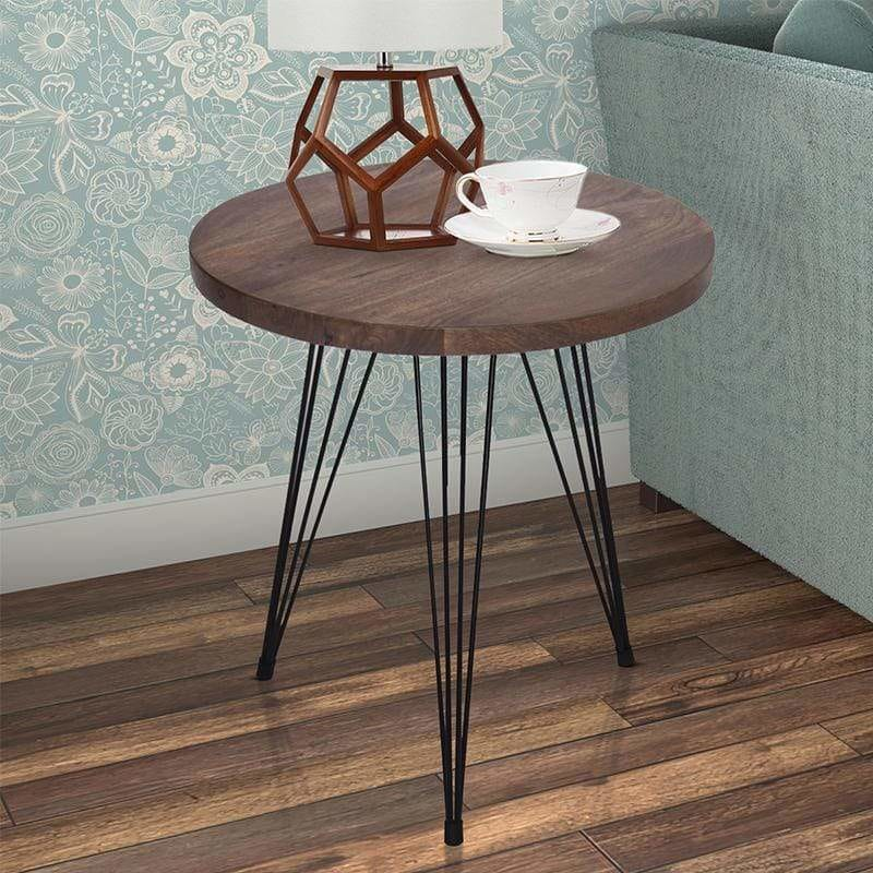 Industrial Style Round Top End Table With Metal Wire Style Legs