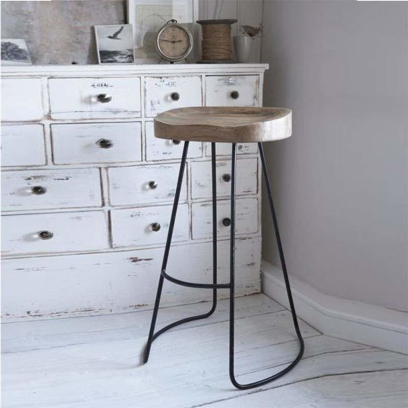 Wooden Saddle Seat Barstool with Metal Legs