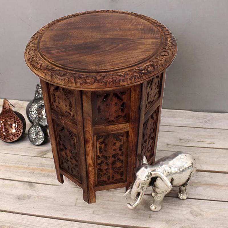 Wooden Hand Carved Folding Accent Coffee Table