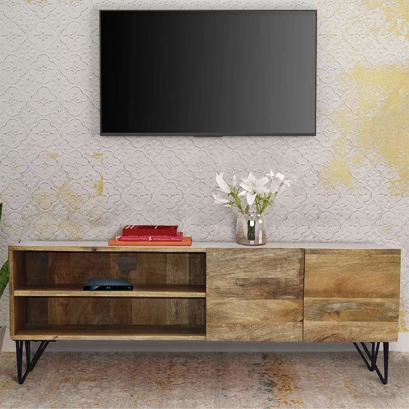 Industrial Style Mango Wood and Metal TV Stand With Storage Cabinet