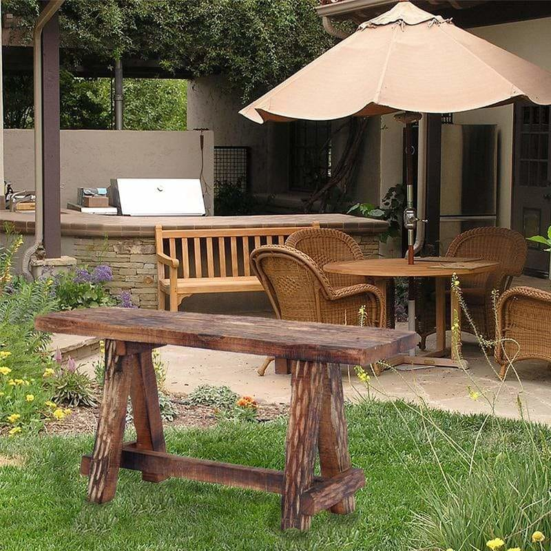 Wooden Garden Patio Bench With Retro Etching