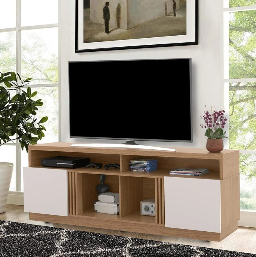 Wooden TV Stand with 4 Open Shelves, White and Brown