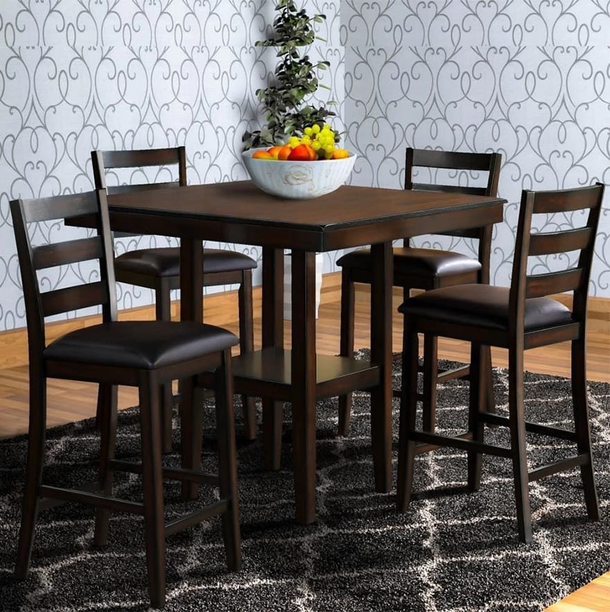 5-Piece Dining Set with Leatherette Padded Chairs