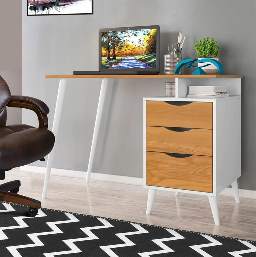 Wooden Computer Desk with Angled Legs
