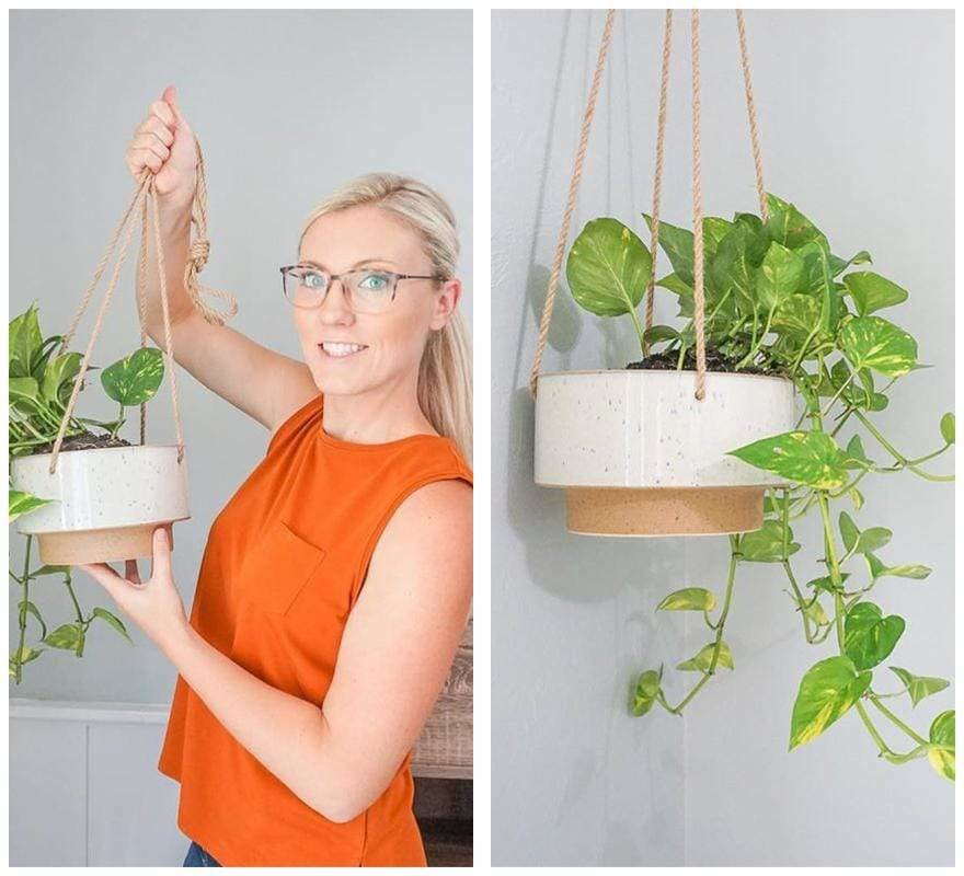 Ceramic Speckled Texture Planter with Attached Hanging Rope