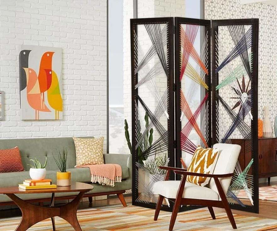 Contemporary 3 Panel Wooden Screen with Woven String Design