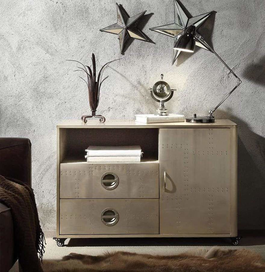 Spacious Wooden Cabinet with Aluminum Patchwork