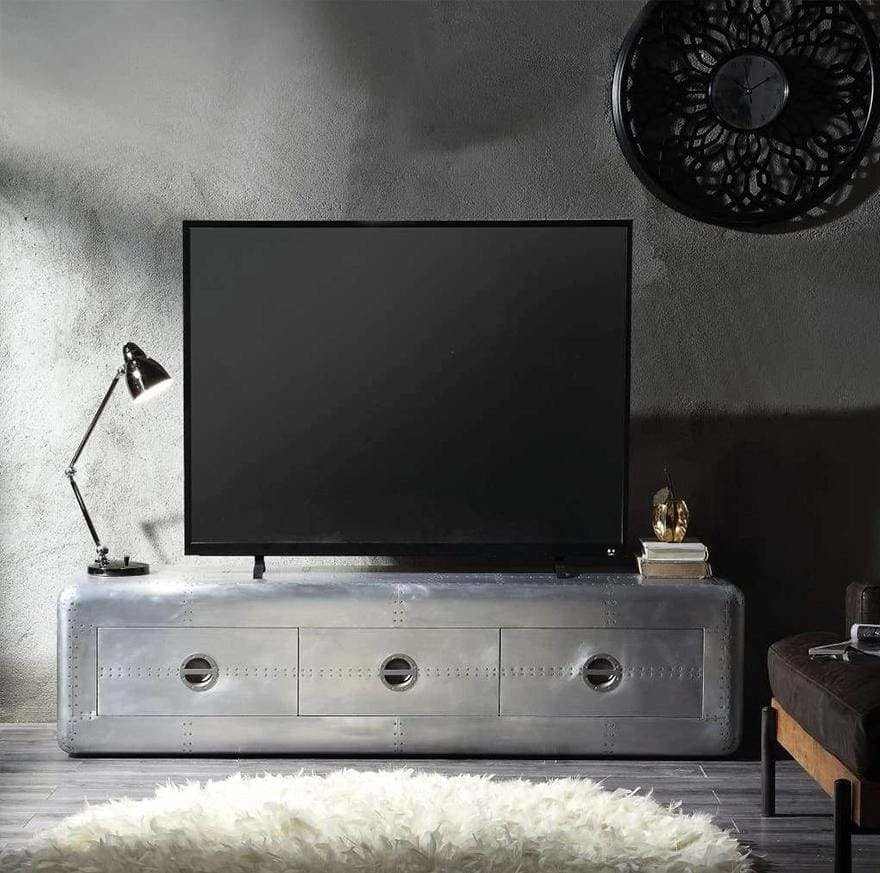 Wooden TV Stand with Aluminum Patchwork and Three Spacious Drawers