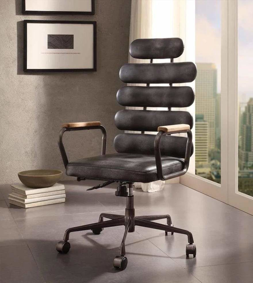 Executive Office Chair Leatherette Metal Swivel with Black Top