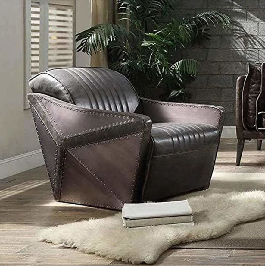 Industrial Style Leatherette Wooden Chair with Channel Tufting Details