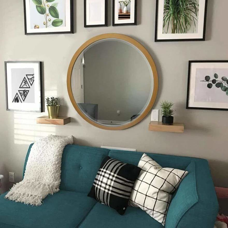 Round Wooden Frame Floating Wall Beveled Mirror